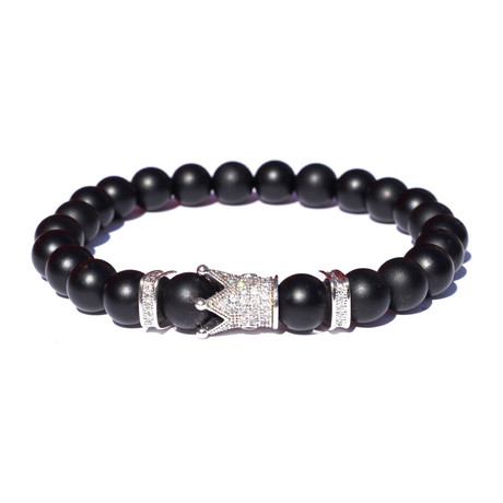 Crown Bracelet // Black + Silver