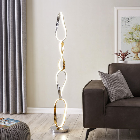 Prague // LED Floor Lamp // Chrome + Gold