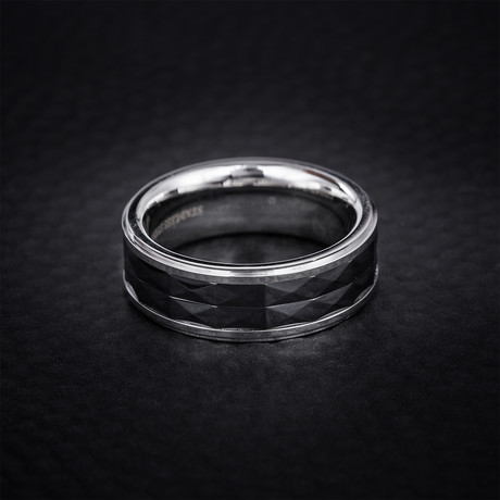 Ceramic Diamond Shaped Eternity Ring // Black + White (Size 9)