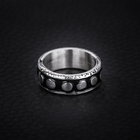 Black Shadow Dotted Design Ring // Black + White (Size 9)