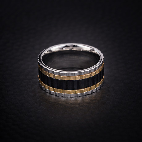Tri Color Ribbed Edge Ring // Gold + Black + White (Size 9)