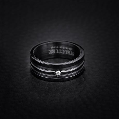 Cubic Zirconia Bead Center Set Matte Ring // Black (Size 9)