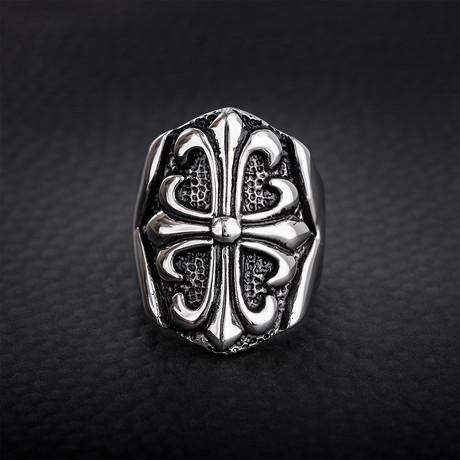 Fleur De Lis Wide Ring // Black + White (Size 9)