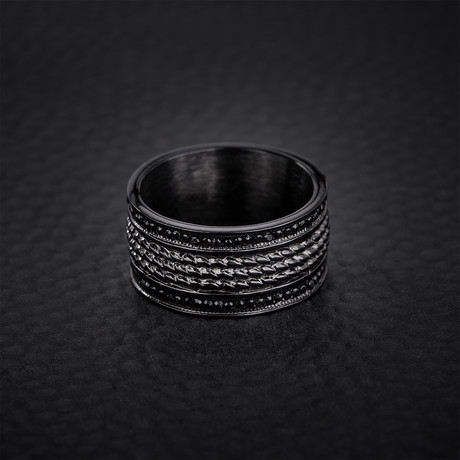 Crystal Beaded Design Ring // Black (Size 9)