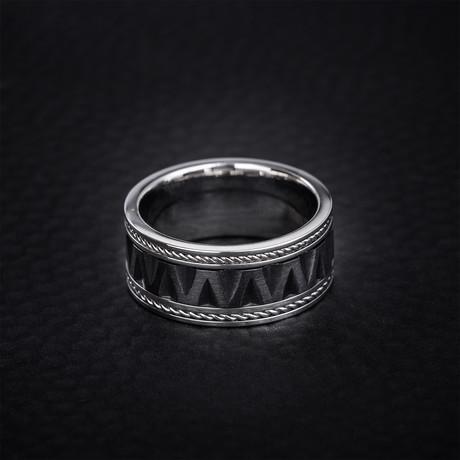 Zig Zag Design Rope Edged Ring // Black + Silver (Size 9)