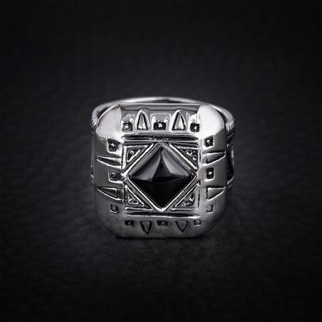 Onyx Tribal Design Ring // Black + White (Size 9)