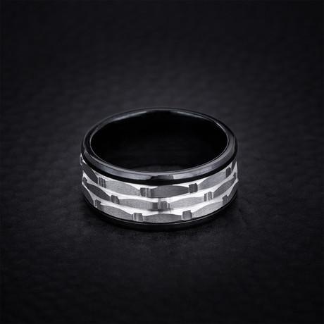 Two Tone Brick Design Ring // Black + White (Size 9)