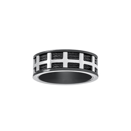 Steel Evolution // Wire + Box Design Ring // Black + White (Size 9)