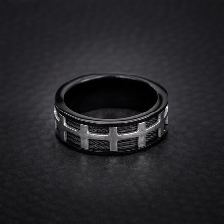 Wire + Box Design Ring // Black + White (Size 9)
