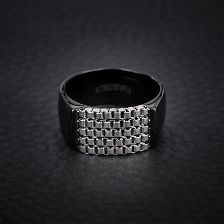 Box Chain Station Ring // Black + White (Size 9)