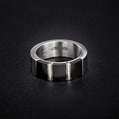 Triple Square Design Ring // Black + White (Size 9)