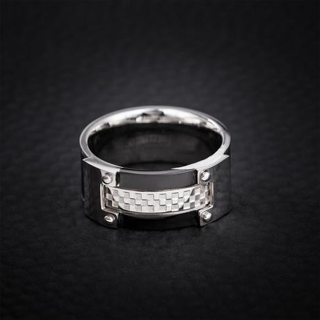 Checkered Board Design Ring // Black + Silver (Size 9)