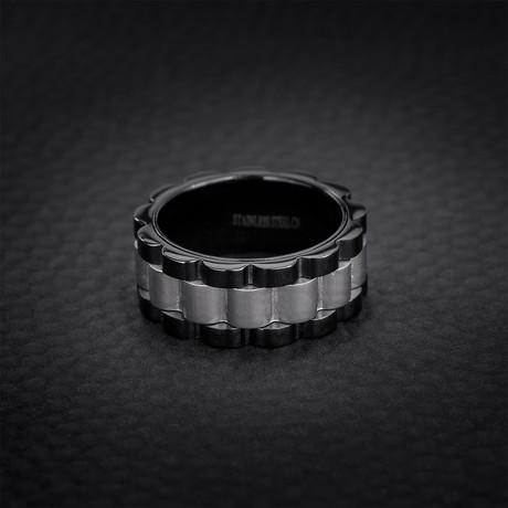 Wavy Ribbed Design Eternity Ring // Black + White (Size 9)