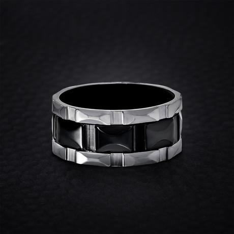 Triple Row Design Ring // Black + White (Size 9)