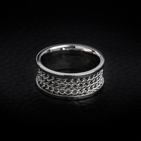 Curb Chain Design Ring // White (Size 9)