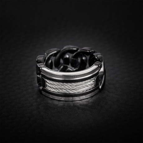 Triple Wire + Curb Chain Ring // Black + White (Size 9)
