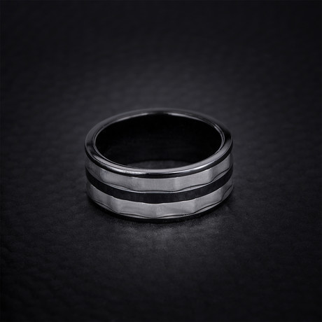 Two Tone Wave Striped Design Ring // Black + White (Size 9)