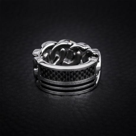 Striped Carbon Fiber + Curb Chain Design Ring // Black + White (Size 9)