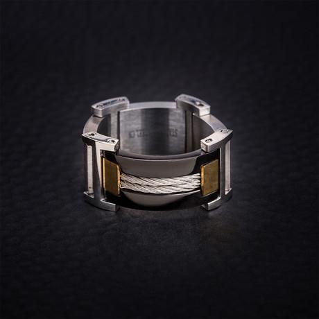 Tri Color Steel Wire Design Ring // Gold + Black + White (Size 9)