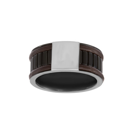 Leather Edged Bar Design Ring // Brown + White + Black (Size: 9)