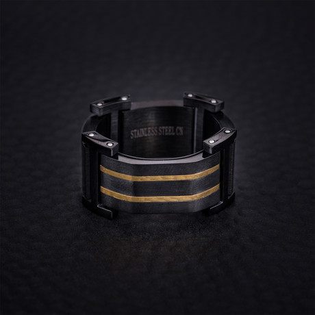 Two Tone Stripe Design Ring // Gold + Black (Size 9)