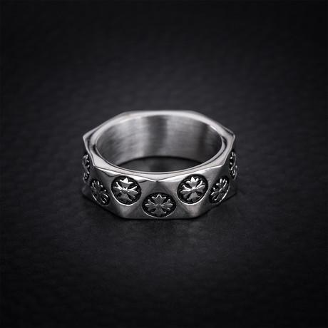 Geo Shaped Flower Design Eternity Ring // White (Size 9)