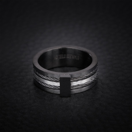 Two Tone Double Twisted Wire Ring // Black + White (Size 9)