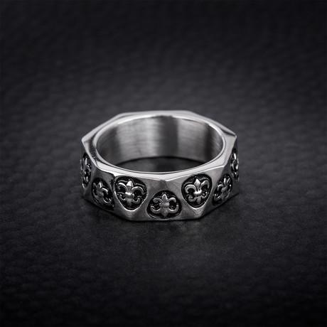 Geo Shaped Fleur De Lis Eternity Ring // White (Size 9)