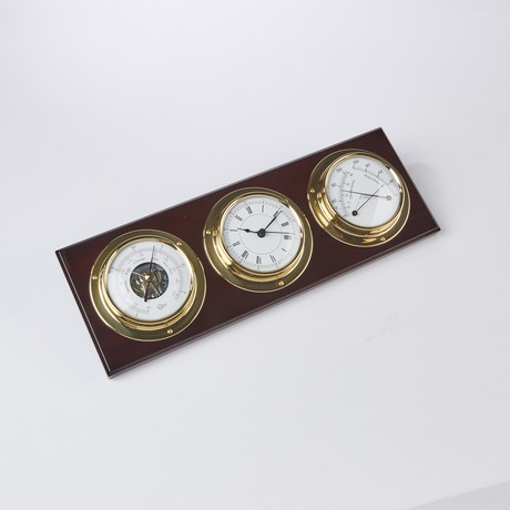 Horizontal Polished Brass and Mahogany Weather Station