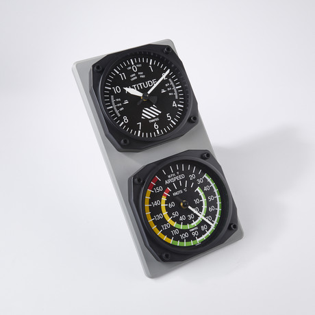 Classic Altimeter-Airspeed Clock + Thermometer Set