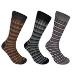 Medway Thin Stripe Socks // Set of 3 (M)
