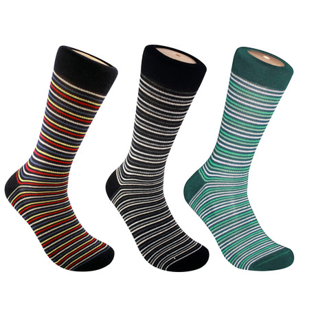 Tamar Thin Stripe Socks // Set of 3 (M)
