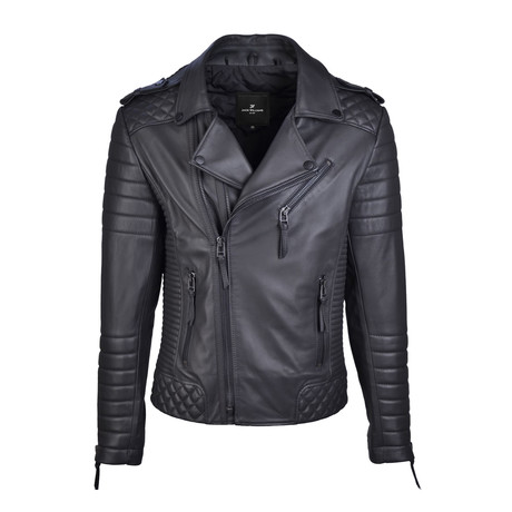 Graham Metal Zipper Leather Jacket // Black (Small)