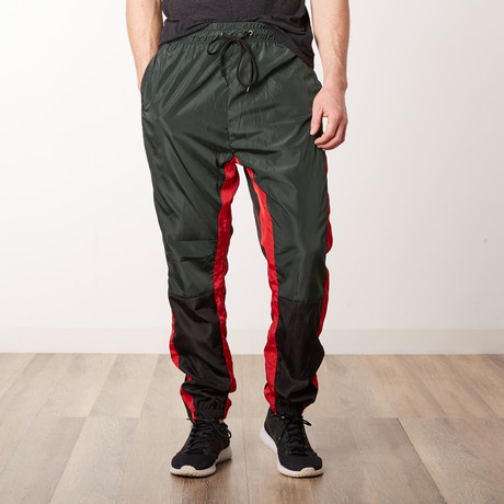 Nylon Color-Blocked Track Pants // Green (S)