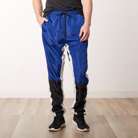 Nylon Color-Blocked Track Pants // Royal Blue (S)