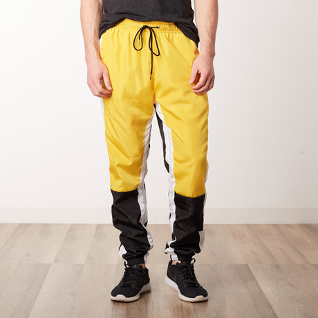 Nylon Color Blocked Track Pants // Yellow (S)