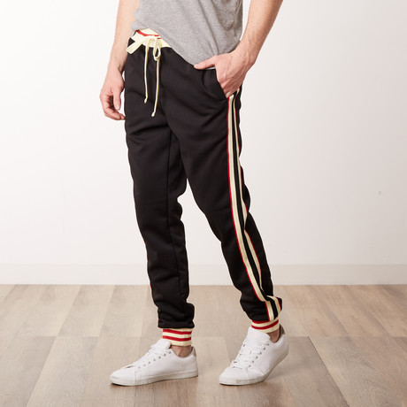 Fleece Side Stripe Track Pants // Black (S)