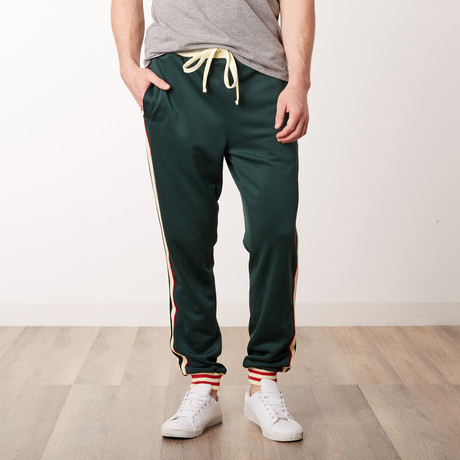 Fleece Track Pants with Side Stripes // Green (S)