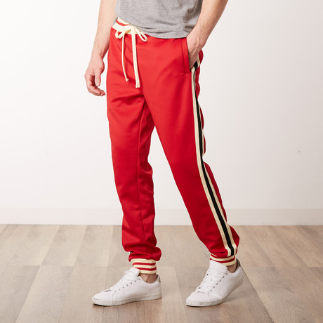 Fleece Side Stripe Track Pants // Red (S)