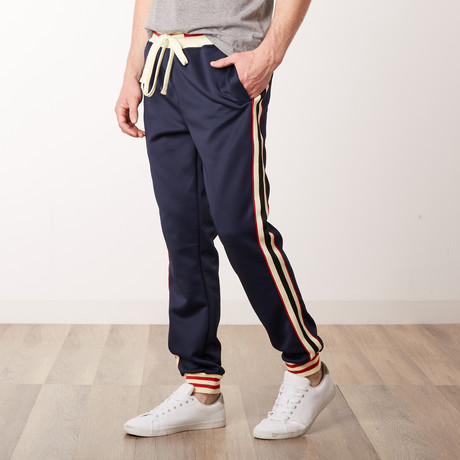 Fleece Track Pants with Side Stripes // Navy (S)