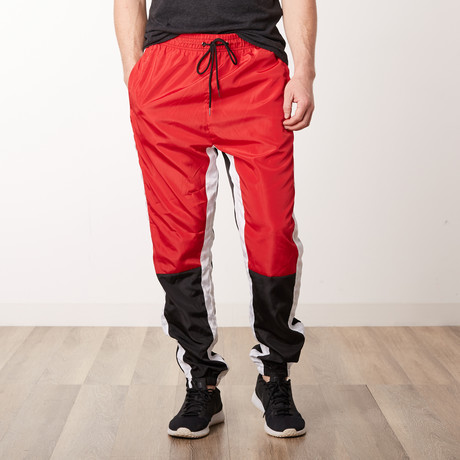 Nylon Color Blocked Track Pants // Red (S)