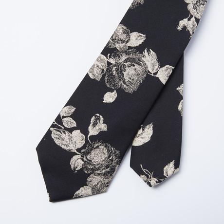 Rose Skinny Tie // Black + Beige