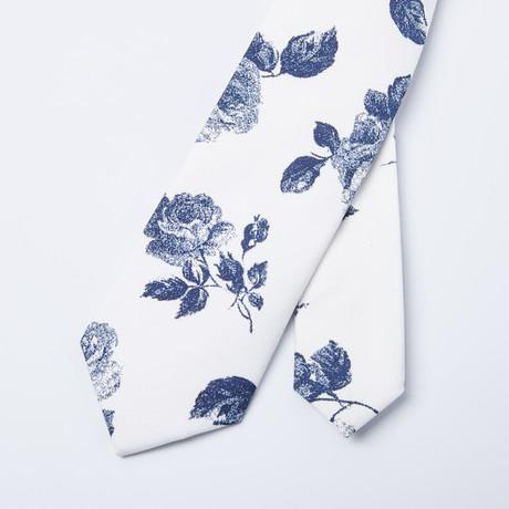 Rose Skinny Tie // White + Blue