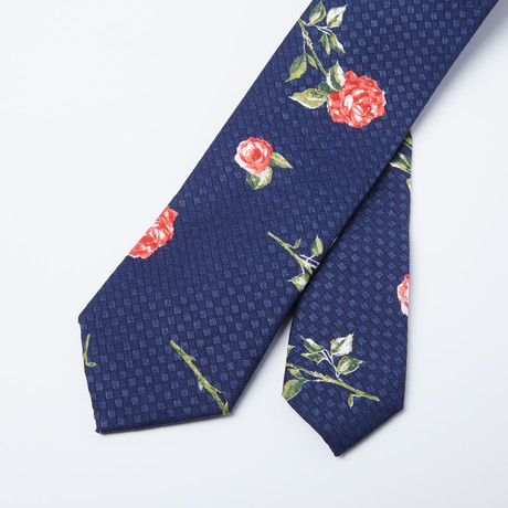 Red Rose Skinny Tie // Blue