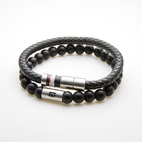 Braided Leather Rondel Bracelet // Black + White // Set of 2