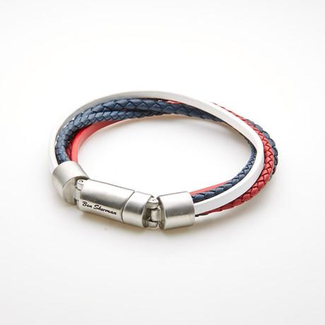 Multi Strand Braided Leather Magnetic Bracelet // Red + Blue + White