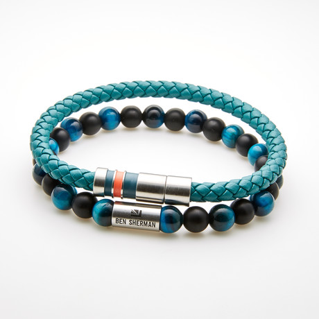 Double Layer Beaded Stretch Bracelet // Blue + Black