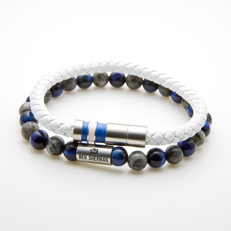 Double Layer Beaded Stretch Bracelet // Blue + White + Grey