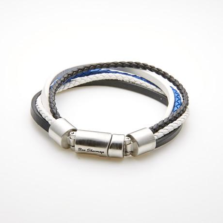 Multi Strand Braided Leather Magnetic Bracelet // Blue + Black + White