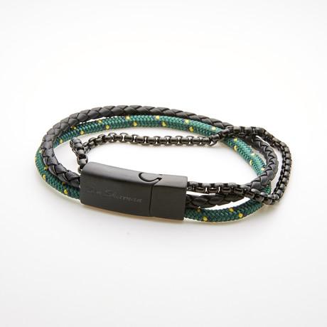 Rolo Box Chain Triple Layer Cord Bracelet // Green + Black